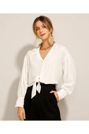 Basics Mulher Camisa Formal - Camisa Cropped de Viscose com Nó Manga Bufante Off White