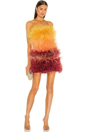 Bronx and Banco Sunset Feather Dress in Yellow, Burgendy. - size L (also in M, S, XS)