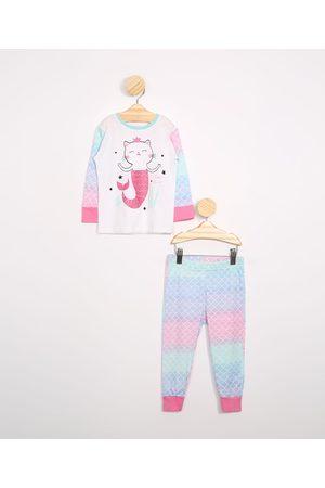 Baby Club Menina Pijamas - Pijama Infantil Manga Longa Gatinha Sereia Tie Dye Off White