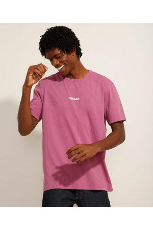"""Clock House Homem Camisolas de Manga Curta - Camiseta de Algodão Chicago"""" Manga Curta Decote Redondo Roxa"""""""