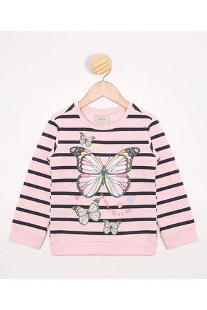 Palomino Blusão Infantil de Moletom Listrado Rosa