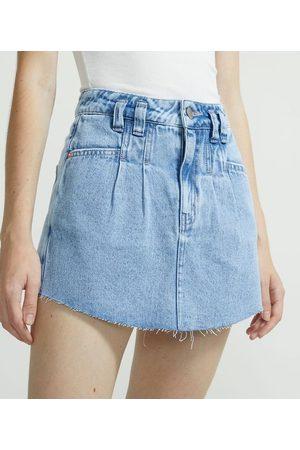 Blue Steel Short Saia Jeans com Pregas e Barra Desfiada | | | 40