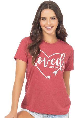 Up Close Mulher Camiseta - T-Shirt Estampa Escrita e Coração