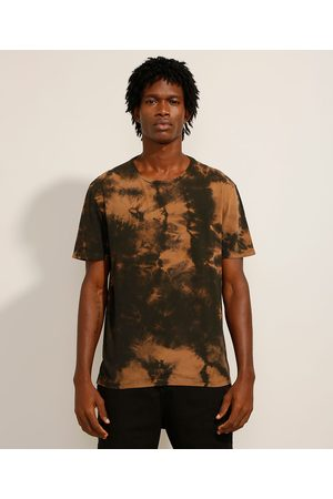 Clock House Camiseta de Algodão Estampada Tie Dye Manga Curta Gola Careca Marrom