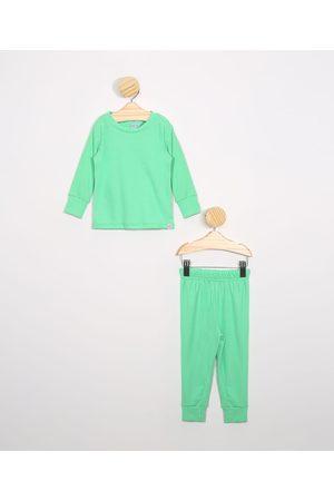 Baby Club Pijama Infantil Canelado Manga Longa Gola Careca Claro