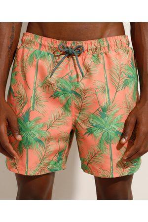 Suncoast Short de Coqueiros com Cordão e Bolsos Coral