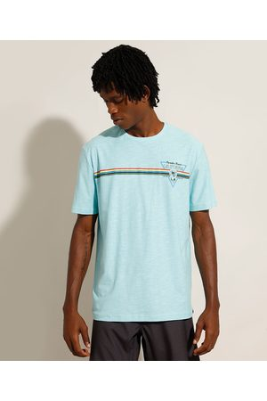 """Suncoast Camiseta de Algodão California"""" com Listras Manga Curta Gola Careca Claro"""""""