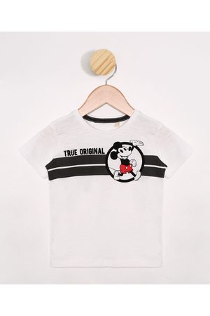Disney Camiseta Infantil Mickey Manga Curta Off White