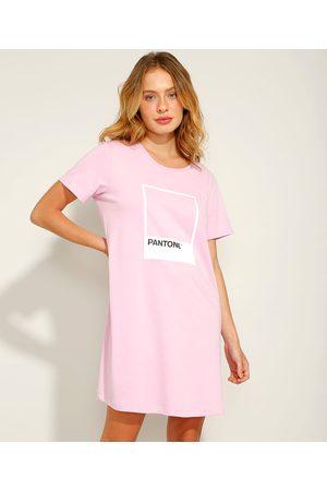 Pantone Camisola de Algodão Manga Curta Rosa