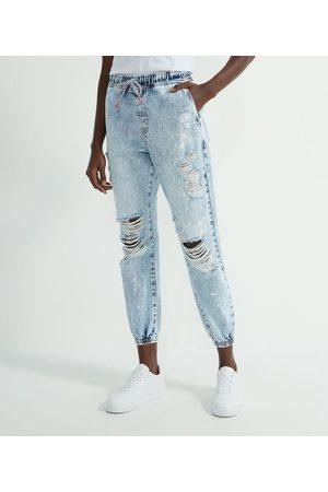 Blue Steel Calça Jogger Jeans com Rasgos e Respingos | | | 38
