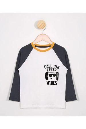 PALOMINO Menino Camisolas de Manga Larga - Camiseta Infantil Raglan Manga Longa Off White
