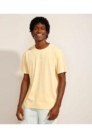 """Clockhouse Camiseta de Algodão California"""" Manga Curta Decote Redondo Amarela"""""""