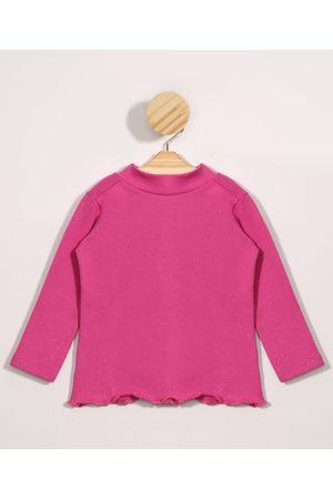 BABY CLUB Blusa Infantil Básica com Glitter Manga Longa Gola Alta Pink