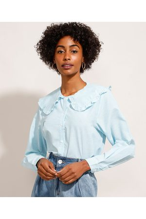 Mindse7 Mulher Camisa Formal - Camisa Listrada Manga Bufante Gola Boneca com Babado Mindset Azul
