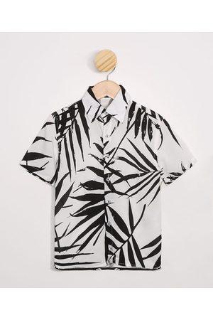 PALOMINO Menino Camisolas de Manga Curta - Camiseta Infantil de Viscose Estampada de Folhagem Manga Curta Branco