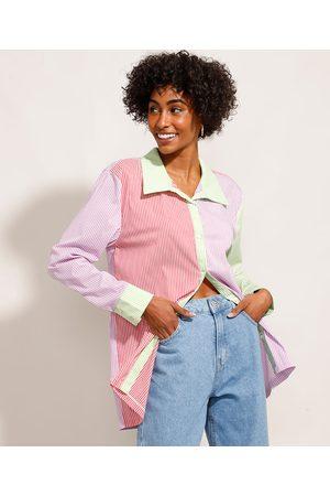 Mindse7 Mulher Camisa Casual - Camisa Longa Listrada com Recortes Manga Longa Multicor