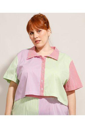 Mindse7 Mulher Camisa Manga Curta - Camisa Cropped Plus Size Listrada com Recortes Manga Curta Mindset Multicor