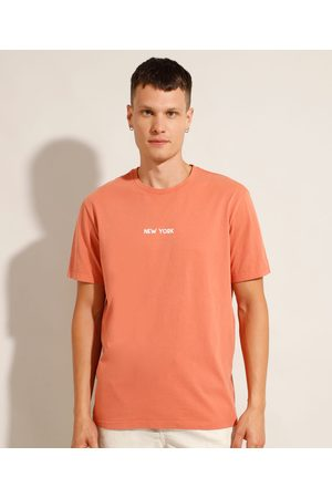 """Clockhouse Homem Camisolas de Manga Curta - Camiseta de Algodão New York"""" Manga Curta Gola Careca Coral"""""""
