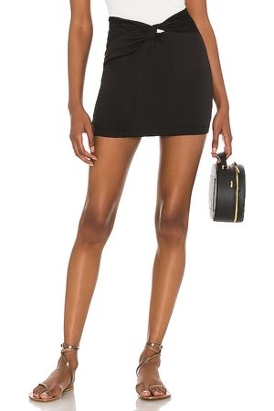 Free People Night Dreamer Twist Mini Skirt in Black. - size 0 (also in 10, 12, 2, 4, 6, 8)
