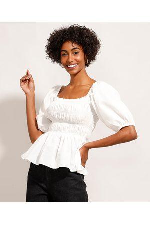Mindse7 Mulher Blusa - Blusa de Algodão com Lastex Manga Bufante Decote Reto Mindset Off White