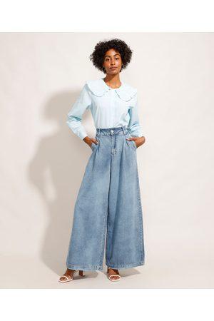 Mindse7 Mulher Cintura Alta - Calça Wide Pantalona Jeans Marmorizada com Pregas Cintura Super Alta Mindset Claro