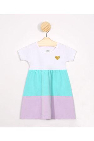 BABY CLUB Criança Vestidos - Vestido Infantil com Recortes Manga Curta Multicor