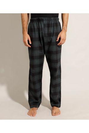 ANGELO LITRICO Homem Pijamas - Calça Pijama de Flanela Estampada Xadrez Verde