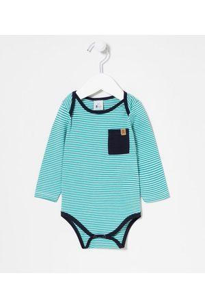 Teddy Boom (0 a 18 meses) Criança Body - Body Infantil Listrado com Bolsinho - Tam 0 a 18 meses | | | 3-6M