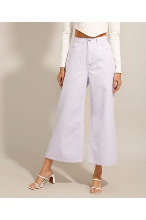 Clockhouse Mulher Calça de Alfataria - Calça Wide Leg Cropped de Sarja Estampada Xadrez Vichy Cintura Super Alta Lilás