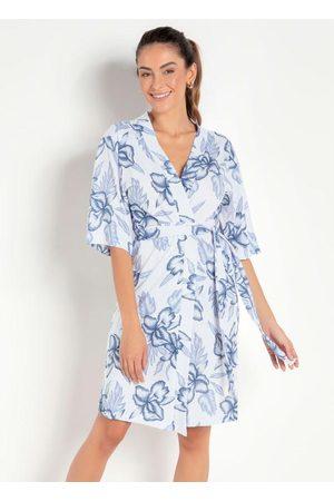Alma Dolce Robe com Mangas Curtas Floral