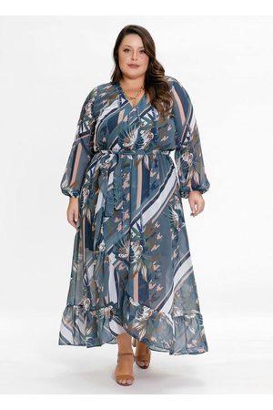 Mink Vestido Plus Size Transpassado Floral Color