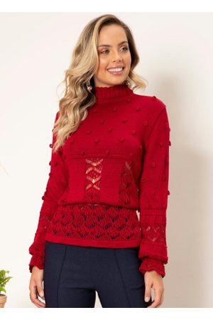 QUINTESS Blusa de Tricô Vermelha Gola Alta
