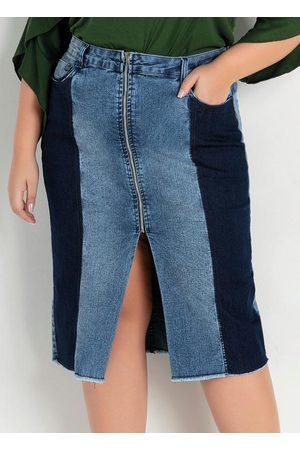 Marguerite Saia Midi Reta Jeans com Recortes Plus Size