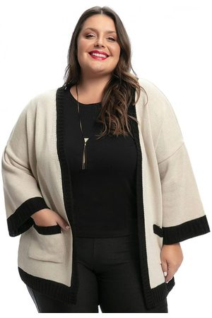 Mink Kimono Plus Size e Preto em Tricô