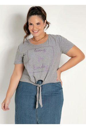 Marguerite Blusa Mescla com Amarração e Brilho Plus Size