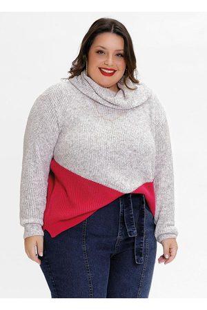 Mink Blusa de Tricô Plus Size Gola Alta Off e Rosa