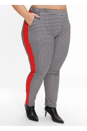 Mink Calça Plus Size Xadrez com Recorte nas Laterais