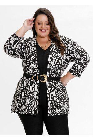 Mink Kimono Plus Size Onça com Fendas nas Laterais