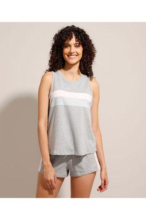 Design Íntimo Mulher Pijamas - Pijama Regata com Listras Mescla
