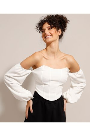 Clockhouse Mulher Cropped - Blusa Cropped Ombro a Ombro Corset Manga Bufante Off White