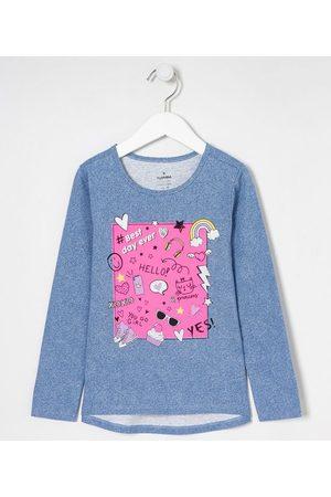 Fuzarka (5 a 14 anos) Blusa Infantil em Fake Jeans Estampa Doodles - Tam 5 a 14 anos | | | 5-6