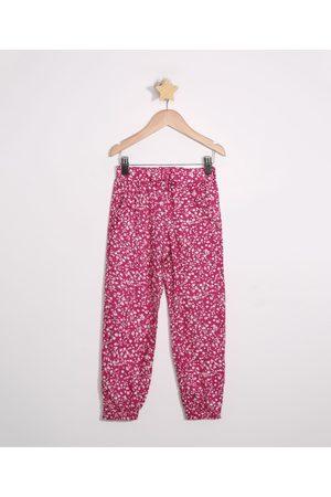 PALOMINO Menina Calça Jogger - Calça Infantil de Viscose Jogger Estampada Floral com Bolsos e Cordão Rosa Escuro