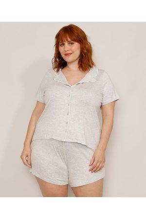 Design Íntimo Pijama Plus Size Camisa Manga Curta com Vivos Contrastantes Mescla