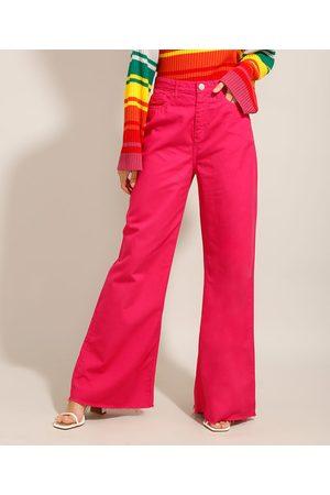 Yessica Calça Wide Pantalona de Sarja com Barra a Fio Cintura Super Alta Pink
