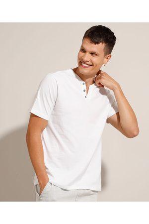 Basics Camiseta Básica Manga Curta Gola Portuguesa Branca