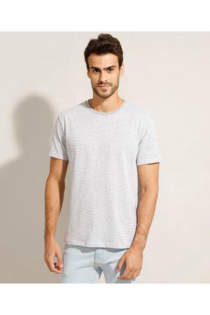 Basics Camiseta Listrada Básica Manga Curta Gola Careca Cinza Mescla Claro