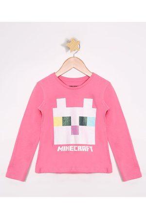 Minecraft Blusa Infantil de Algodão com Glitter Manga Longa