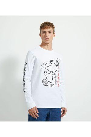Snoopy Camiseta Manga Longa em Algodão Estampa Japonismo | | | P