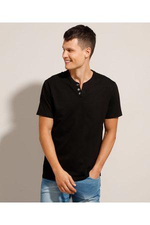 Basics Homem Camisolas de Manga Curta - Camiseta Básica Manga Curta Gola Portuguesa Preta