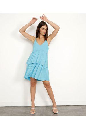 Mindse7 Vestido de Viscose em Camadas Curto Alça Dupla Claro